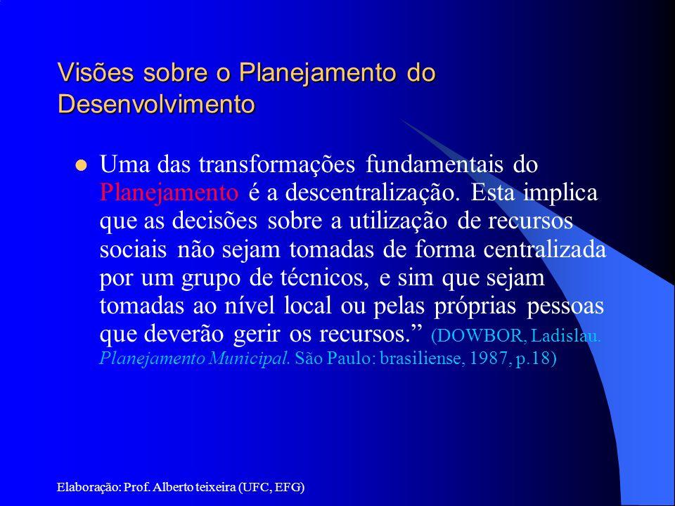 Elaboração: Prof. Alberto teixeira (UFC, EFG) Visões sobre o Planejamento do Desenvolvimento Uma das transformações fundamentais do Planejamento é a d