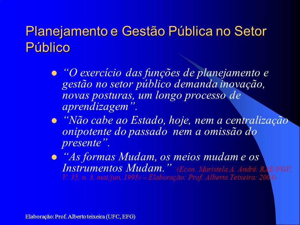 Planejamento e Gestão Pública no Setor Público O exercício das funções de planejamento e gestão no setor público demanda inovação, novas posturas, um
