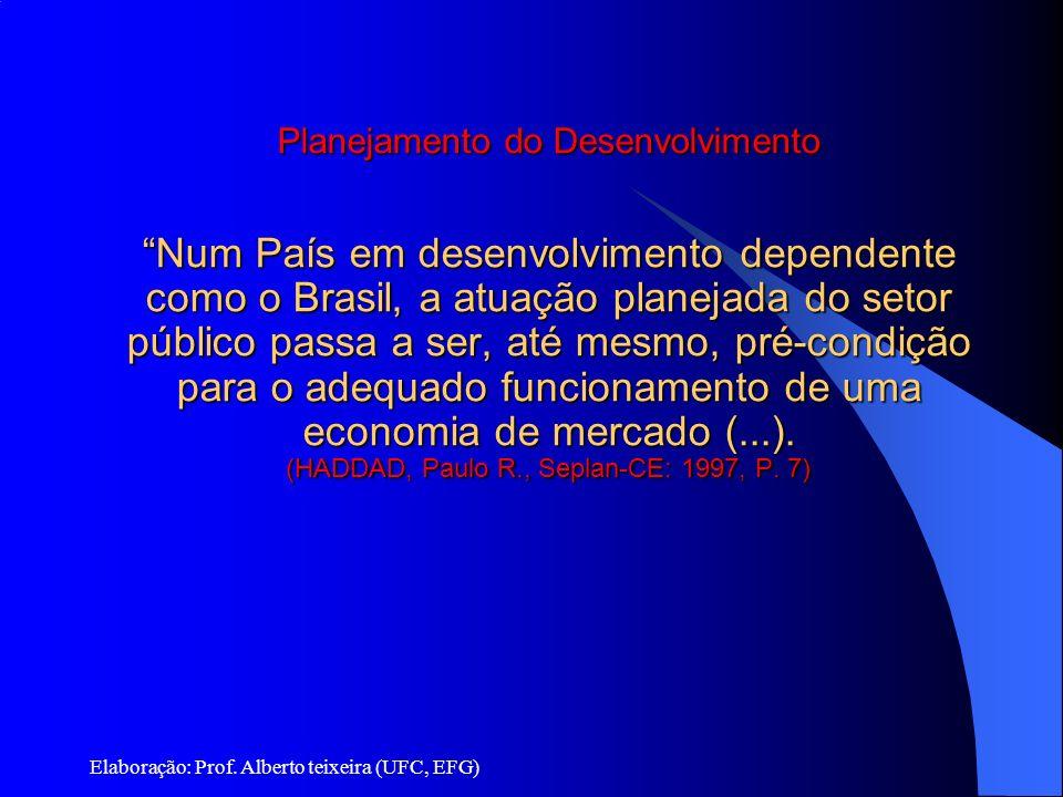 Planejamento e Desenvolvimento Planejamento do Desenvolvimento Num País em desenvolvimento dependente como o Brasil, a atuação planejada do setor públ