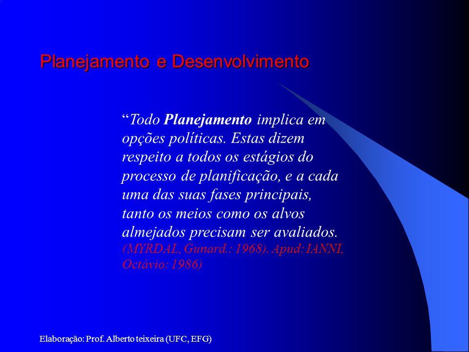 Planejamento e Desenvolvimento Elaboração: Prof. Alberto teixeira (UFC, EFG) Todo Planejamento implica em opções políticas. Estas dizem respeito a tod
