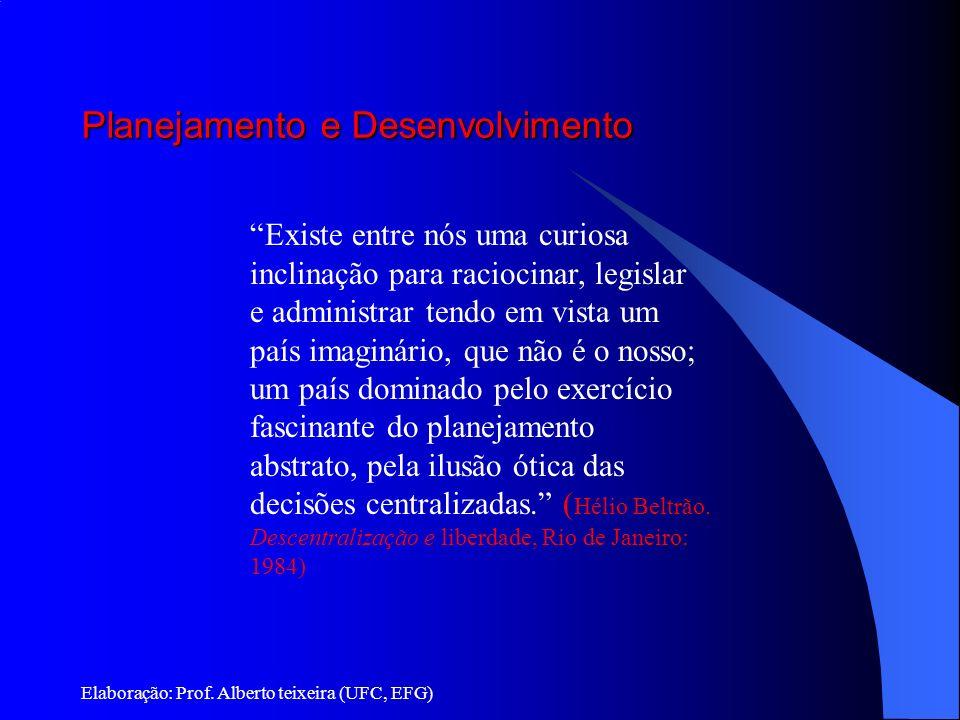 Planejamento e Desenvolvimento Elaboração: Prof. Alberto teixeira (UFC, EFG) Existe entre nós uma curiosa inclinação para raciocinar, legislar e admin