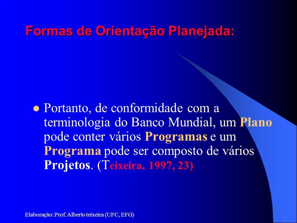 Elaboração: Prof. Alberto teixeira (UFC, EFG) Formas de Orientação Planejada: Portanto, de conformidade com a terminologia do Banco Mundial, um Plano