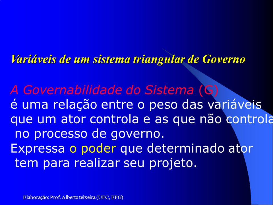 Elaboração: Prof. Alberto teixeira (UFC, EFG) Variáveis de um sistema triangular de Governo A Governabilidade do Sistema (G) é uma relação entre o pes