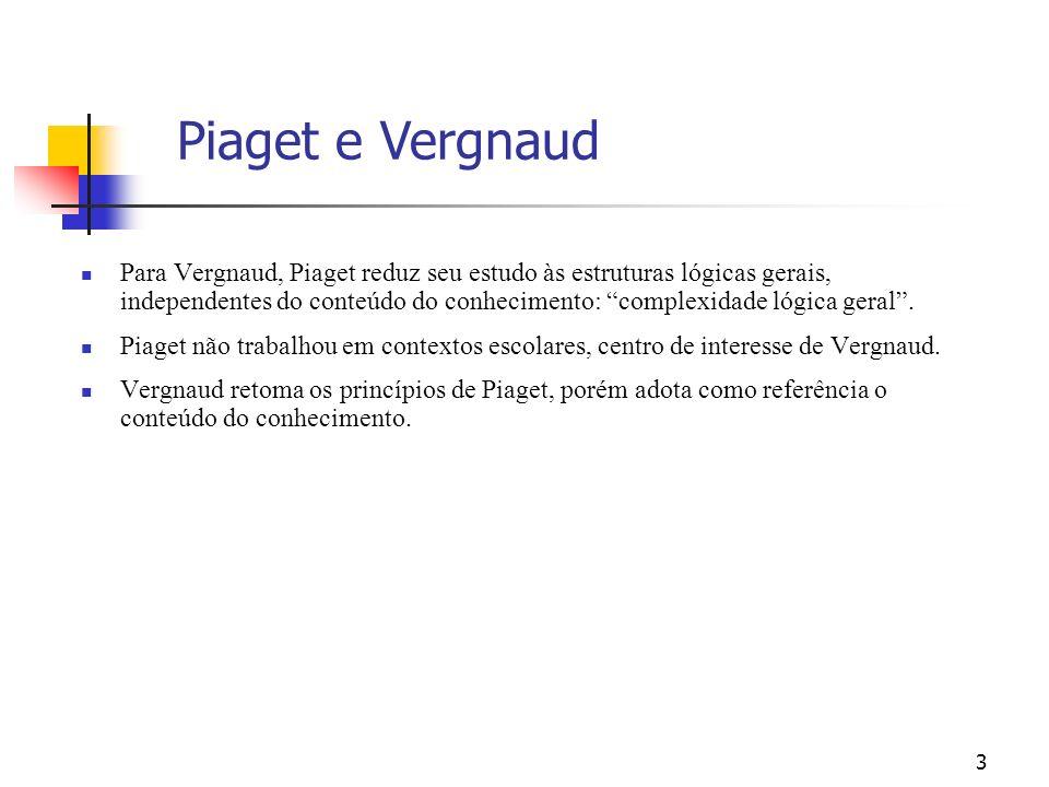3 Para Vergnaud, Piaget reduz seu estudo às estruturas lógicas gerais, independentes do conteúdo do conhecimento: complexidade lógica geral. Piaget nã