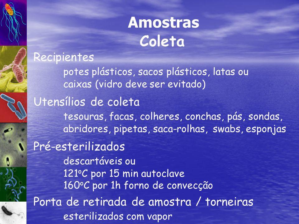 Recipientes potes plásticos, sacos plásticos, latas ou caixas (vidro deve ser evitado) Amostras Coleta Pré-esterilizados descartáveis ou 121 o C por 1