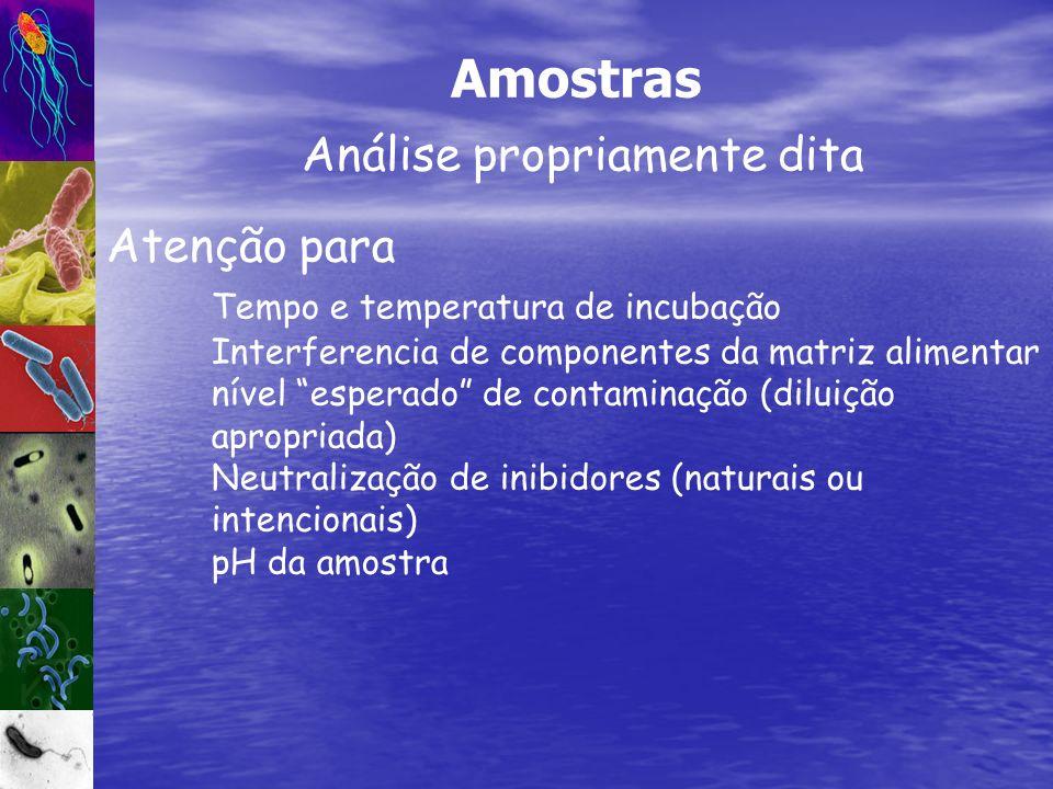 Análise propriamente dita Amostras Atenção para Tempo e temperatura de incubação Interferencia de componentes da matriz alimentar nível esperado de co