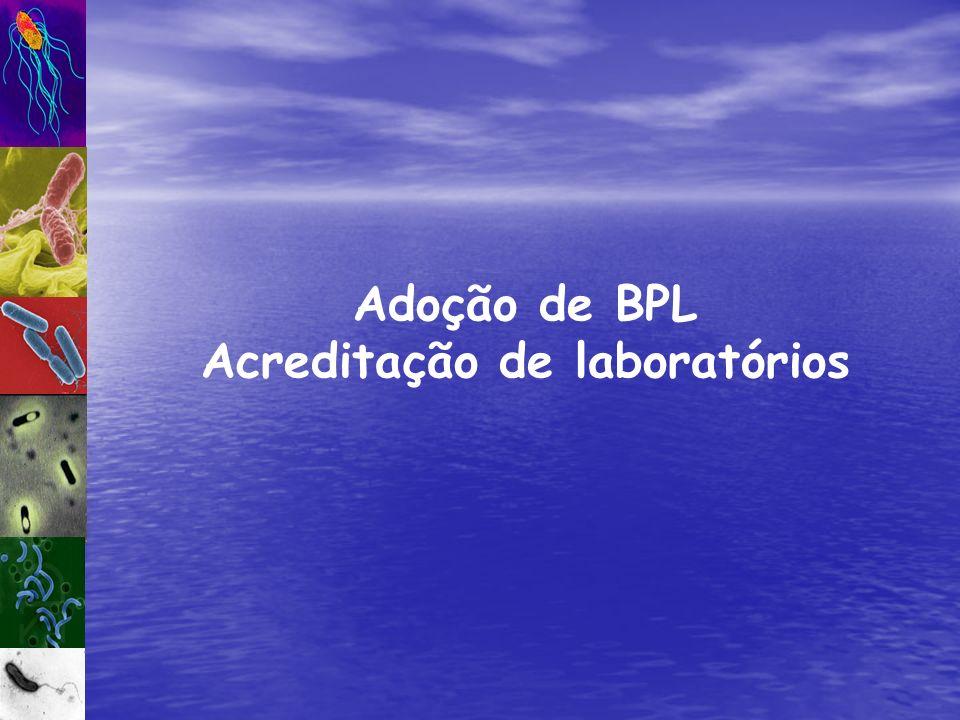 Adoção de BPL Acreditação de laboratórios
