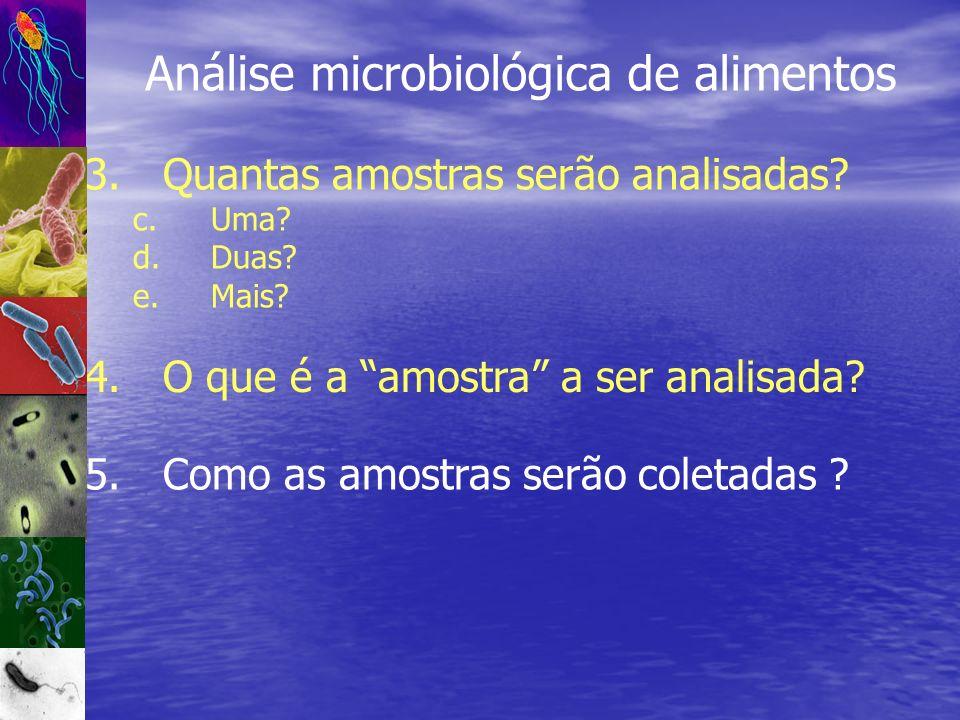 Análise microbiológica de alimentos 3.Quantas amostras serão analisadas? c.Uma? d.Duas? e.Mais? 5.Como as amostras serão coletadas ? 4.O que é a amost