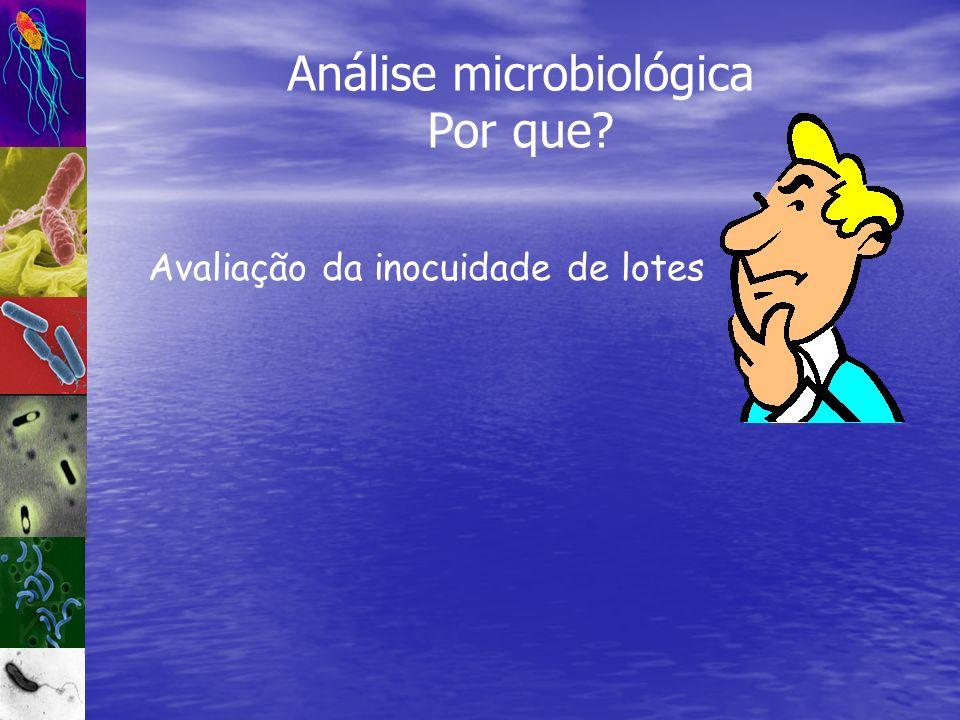 Avaliação da inocuidade de lotes Análise microbiológica Por que?