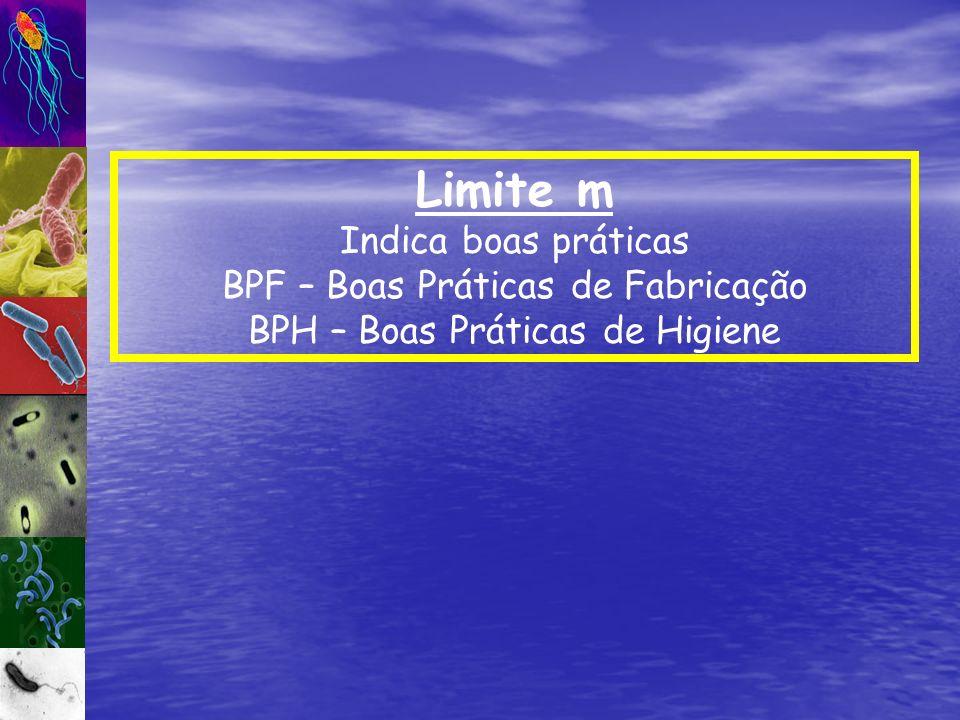 Limite m Indica boas práticas BPF – Boas Práticas de Fabricação BPH – Boas Práticas de Higiene
