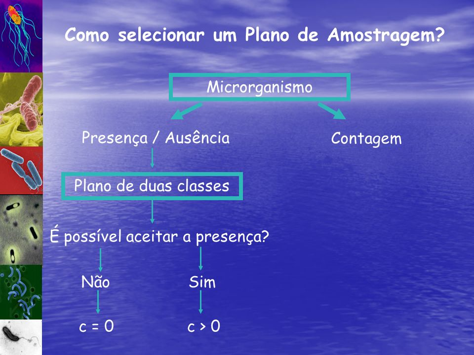 Como selecionar um Plano de Amostragem? Microrganismo Presença / Ausência Plano de duas classes É possível aceitar a presença? NãoSim c = 0c > 0 Conta