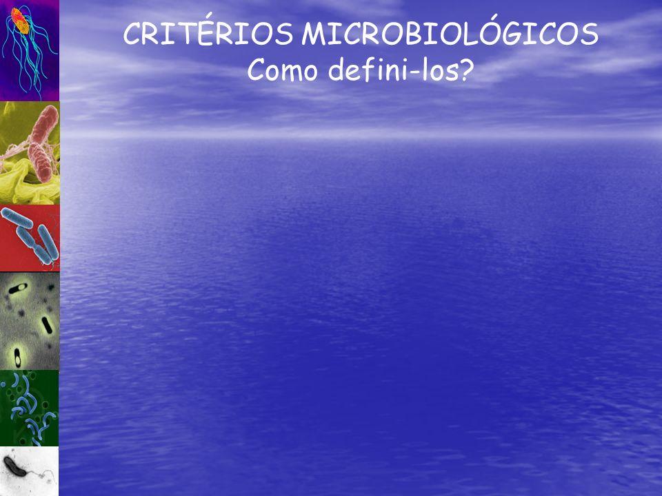 CRITÉRIOS MICROBIOLÓGICOS Como defini-los?
