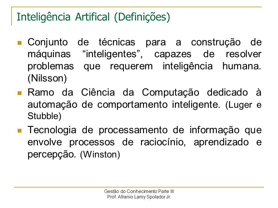Gestão do Conhecimento Parte III Prof. Afranio Lamy Spolador Jr. Inteligência Artificial Uma área de pesquisa que investiga formas de habilitar o comp