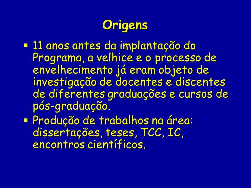 Origens 11 anos antes da implantação do Programa, a velhice e o processo de envelhecimento já eram objeto de investigação de docentes e discentes de d