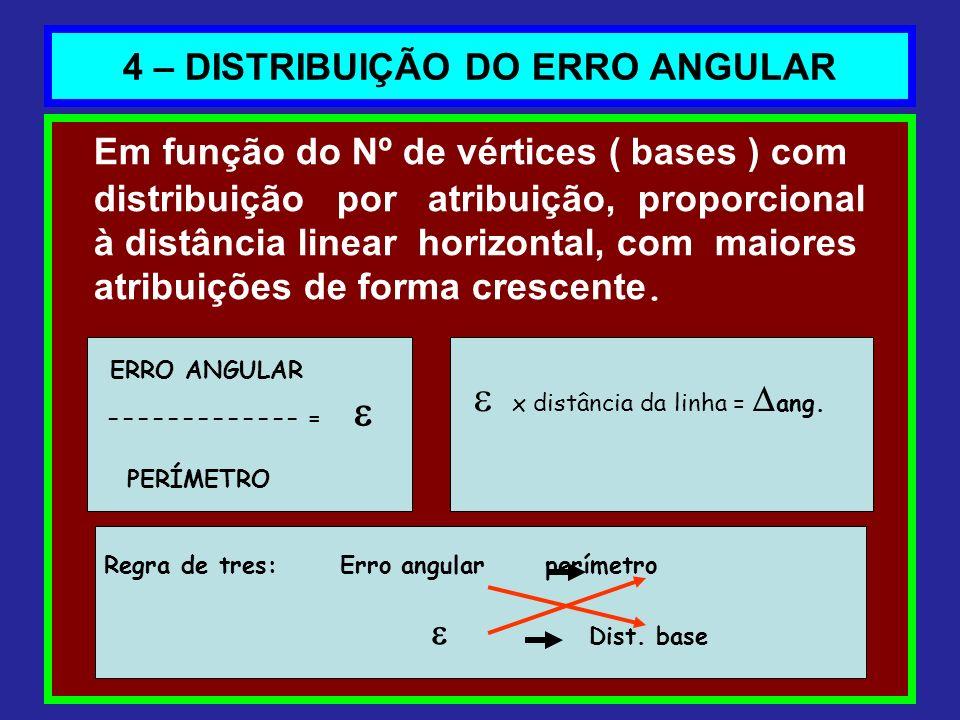 4 – DISTRIBUIÇÃO DO ERRO ANGULAR Em função do Nº de vértices ( bases ) com distribuição por atribuição, proporcional à distância linear horizontal, co