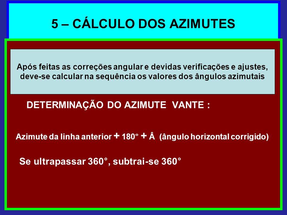 5 – CÁLCULO DOS AZIMUTES DETERMINAÇÃO DO AZIMUTE VANTE : Azimute da linha anterior + 180° + Â (ângulo horizontal corrigido) Se ultrapassar 360°, subtr