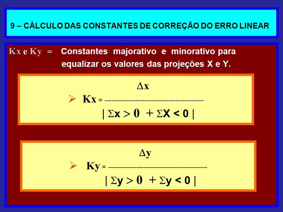9 – CÁLCULO DAS CONSTANTES DE CORREÇÃO DO ERRO LINEAR Kx Kx e Ky = Constantes majorativo e minorativo para equalizar os valores das projeções X e Y. x