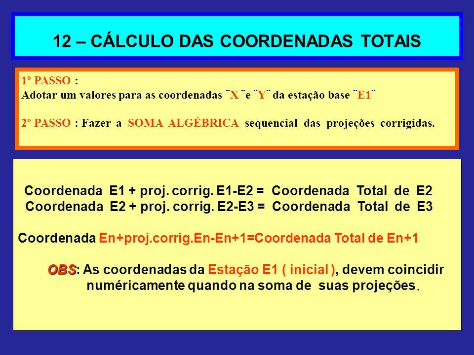 12 – CÁLCULO DAS COORDENADAS TOTAIS 1º PASSO : Adotar um valores para as coordenadas ¨X ¨e ¨Y¨ da estação base ¨E1¨ 2º PASSO : Fazer a SOMA ALGÉBRICA