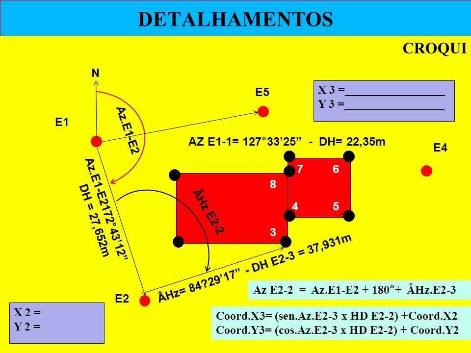 DETALHAMENTOS CROQUI E2 E1 E4 E5 N ÂHz E2-2 ÂHz= 84?2917 - DH E2-3 = 37,931m AZ E1-1= 127°3325 - DH= 22,35m Coord.X3= (sen.Az.E2-3 x HD E2-2) +Coord.X