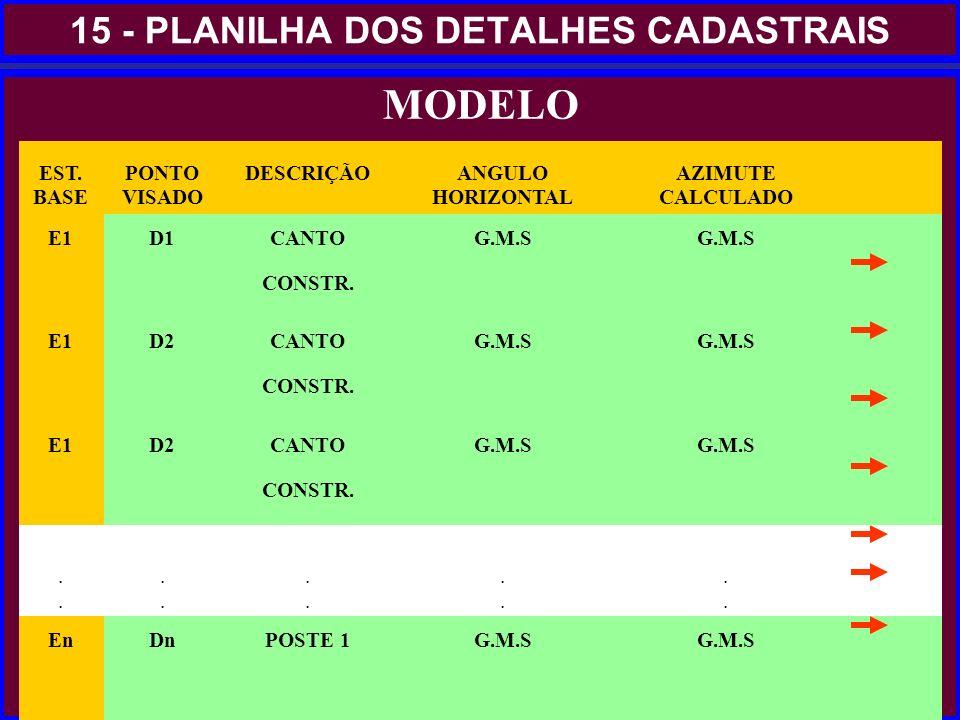 15 - PLANILHA DOS DETALHES CADASTRAIS MODELO EST. BASE PONTO VISADO DESCRIÇÃO ANGULO HORIZONTAL AZIMUTE CALCULADO E1 D1CANTO CONSTR. G.M.S E1 D2CANTO