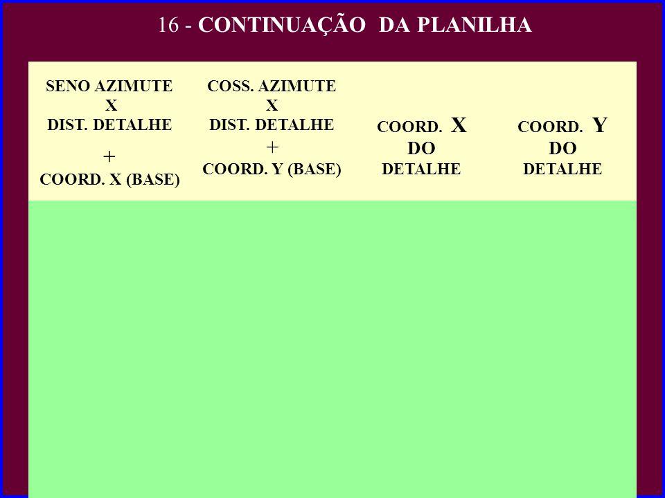 16 - CONTINUAÇÃO DA PLANILHA SENO AZIMUTE X DIST. DETALHE COORD. X (BASE) COSS. AZIMUTE X DIST. DETALHE + COORD. Y (BASE) COORD. X DO DETALHE COORD. Y