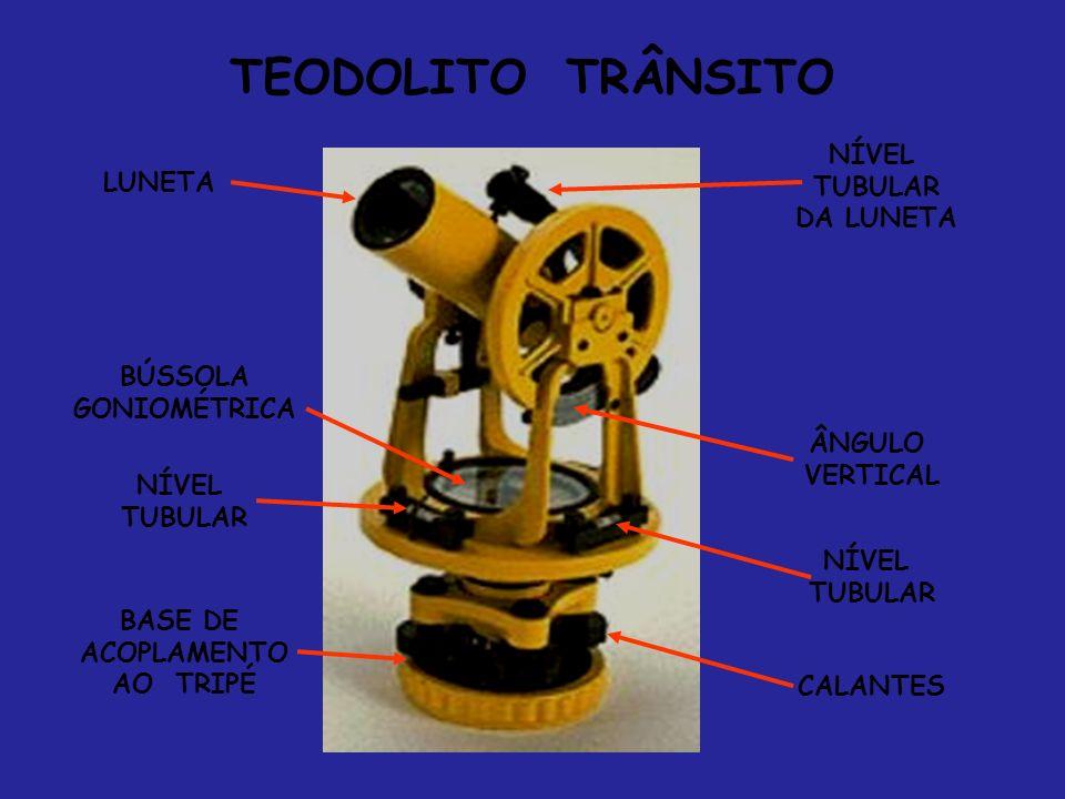 TEODOLITO TRÂNSITO BÚSSOLA GONIOMÉTRICA LUNETA ÂNGULO VERTICAL NÍVEL TUBULAR NÍVEL TUBULAR NÍVEL TUBULAR DA LUNETA CALANTES BASE DE ACOPLAMENTO AO TRI
