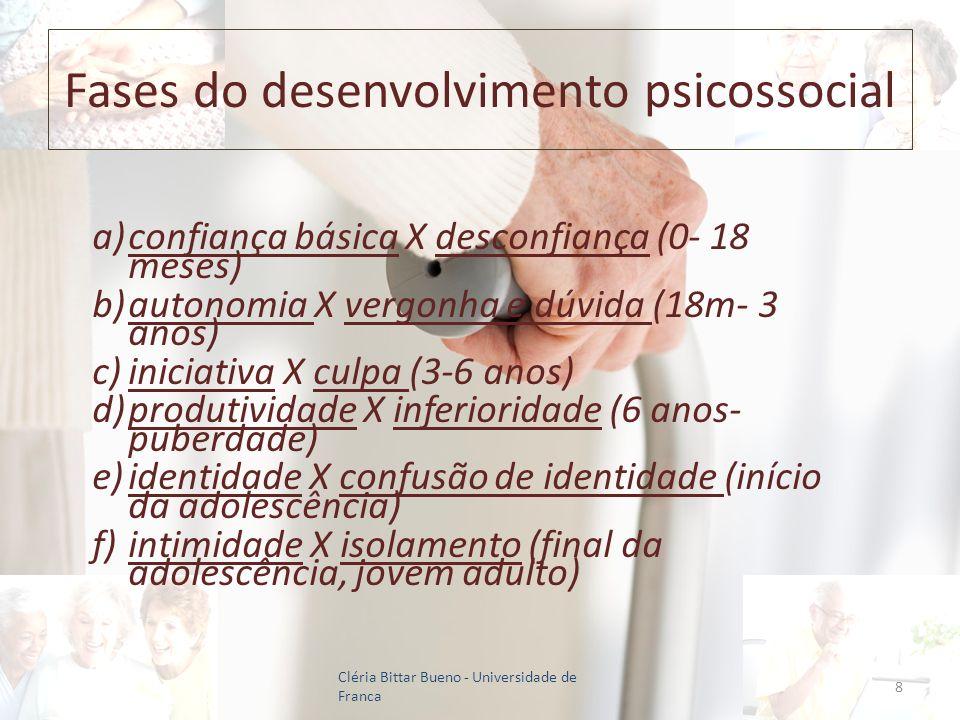 Fases do desenvolvimento psicossocial a)confiança básica X desconfiança (0- 18 meses) b)autonomia X vergonha e dúvida (18m- 3 anos) c)iniciativa X cul