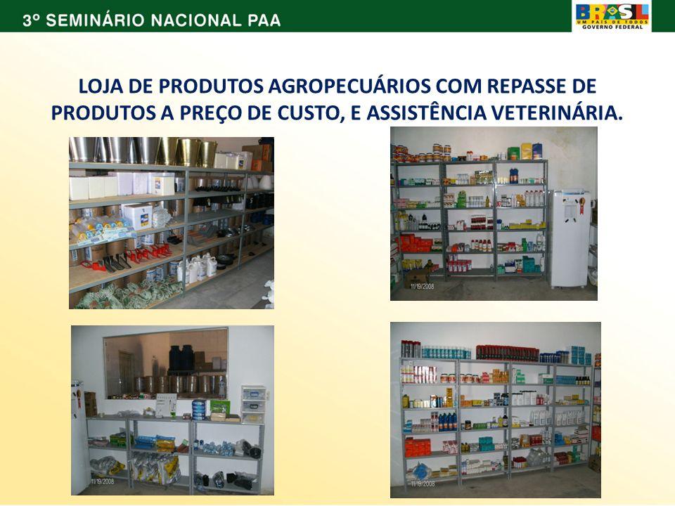 LOJA DE PRODUTOS AGROPECUÁRIOS COM REPASSE DE PRODUTOS A PREÇO DE CUSTO, E ASSISTÊNCIA VETERINÁRIA.