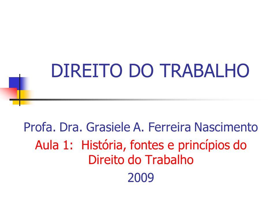 DIREITO DO TRABALHO Profa. Dra. Grasiele A. Ferreira Nascimento Aula 1: História, fontes e princípios do Direito do Trabalho 2009