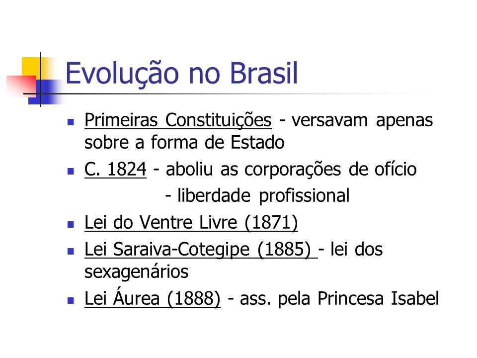 Evolução no Brasil Primeiras Constituições - versavam apenas sobre a forma de Estado C. 1824 - aboliu as corporações de ofício - liberdade profissiona