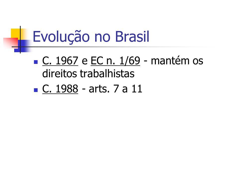 Evolução no Brasil C. 1967 e EC n. 1/69 - mantém os direitos trabalhistas C. 1988 - arts. 7 a 11