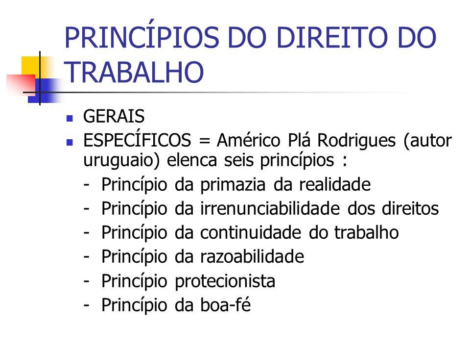 PRINCÍPIOS DO DIREITO DO TRABALHO GERAIS ESPECÍFICOS = Américo Plá Rodrigues (autor uruguaio) elenca seis princípios : - Princípio da primazia da real