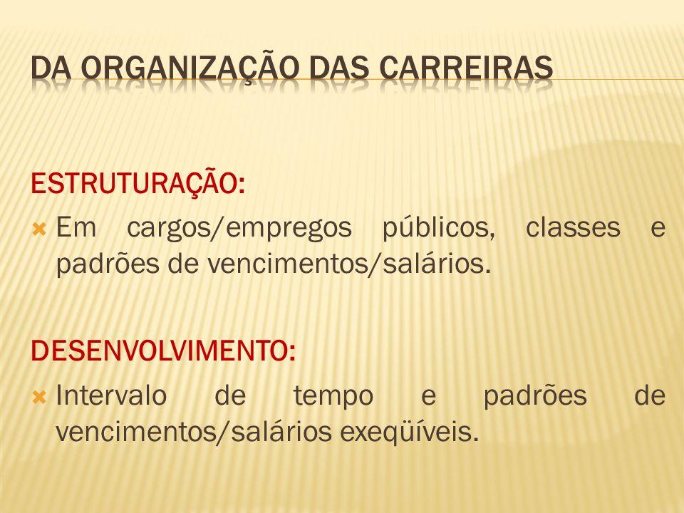 ESTRUTURAÇÃO: Em cargos/empregos públicos, classes e padrões de vencimentos/salários.