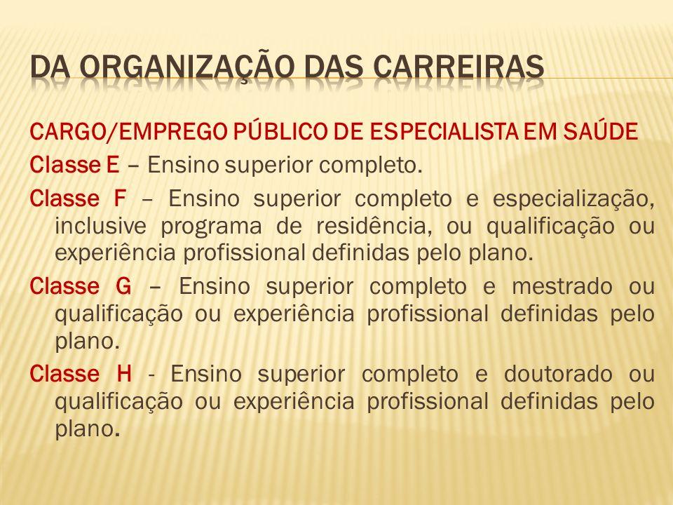 CARGO/EMPREGO PÚBLICO DE ESPECIALISTA EM SAÚDE Classe E – Ensino superior completo.