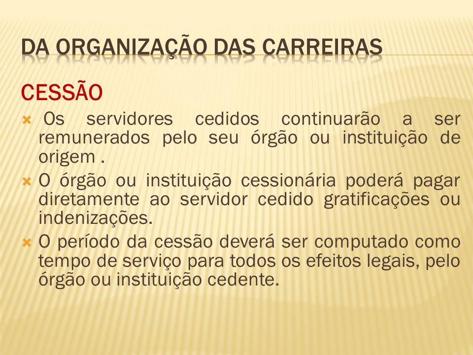 CESSÃO Os servidores cedidos continuarão a ser remunerados pelo seu órgão ou instituição de origem.