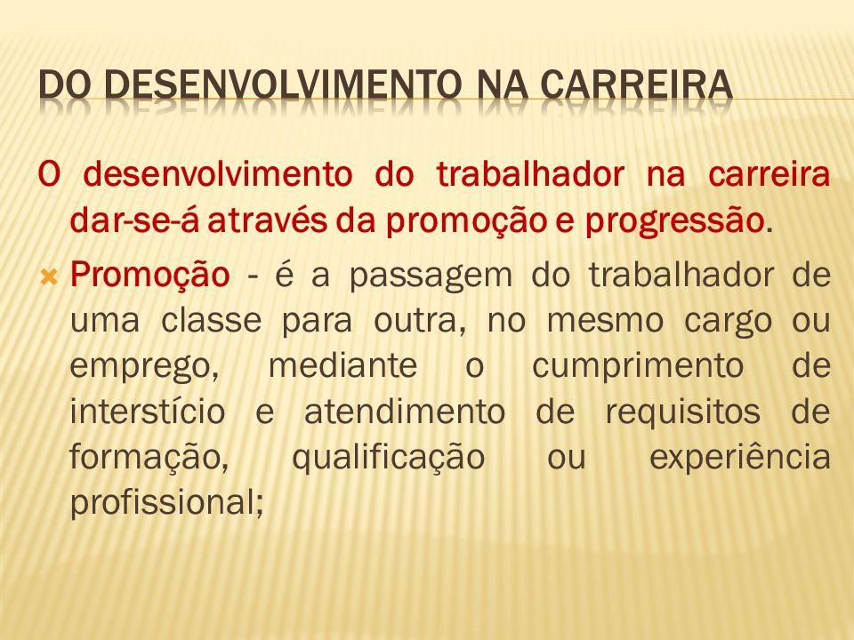 O desenvolvimento do trabalhador na carreira dar-se-á através da promoção e progressão.