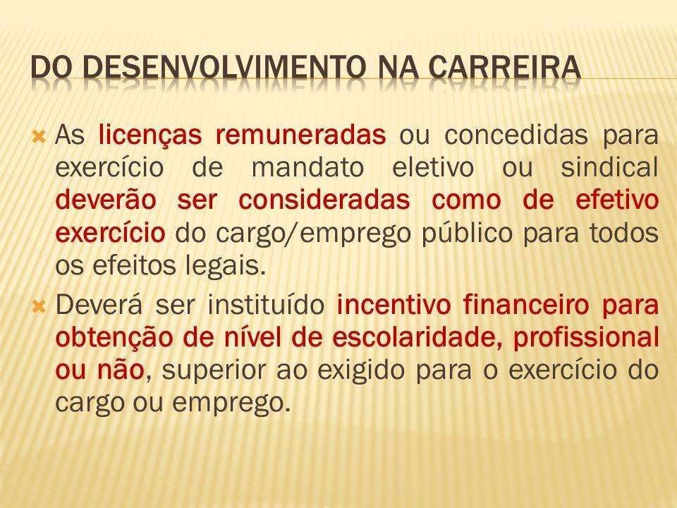 As licenças remuneradas ou concedidas para exercício de mandato eletivo ou sindical deverão ser consideradas como de efetivo exercício do cargo/emprego público para todos os efeitos legais.