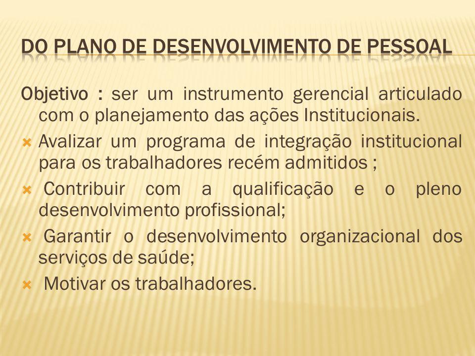 Objetivo : ser um instrumento gerencial articulado com o planejamento das ações Institucionais.
