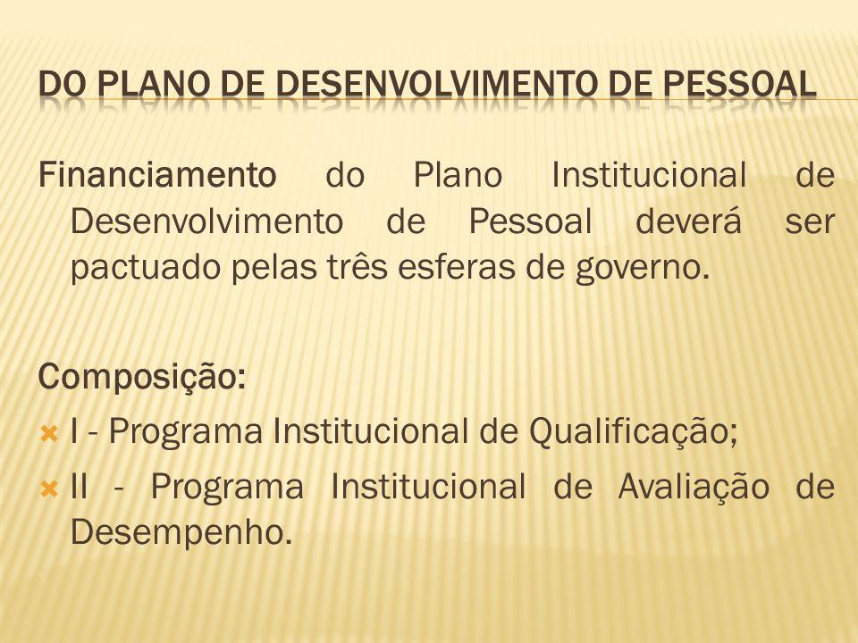 Financiamento do Plano Institucional de Desenvolvimento de Pessoal deverá ser pactuado pelas três esferas de governo.