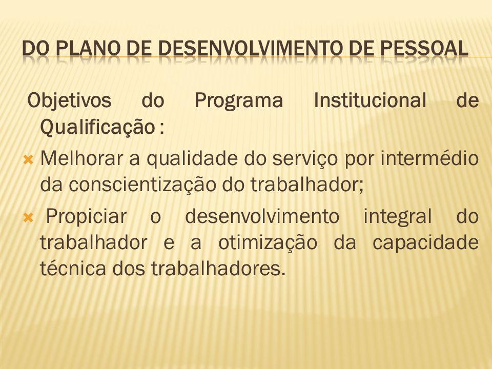 Objetivos do Programa Institucional de Qualificação : Melhorar a qualidade do serviço por intermédio da conscientização do trabalhador; Propiciar o desenvolvimento integral do trabalhador e a otimização da capacidade técnica dos trabalhadores.