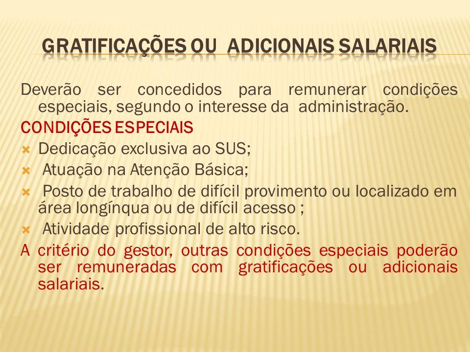 Deverão ser concedidos para remunerar condições especiais, segundo o interesse da administração.