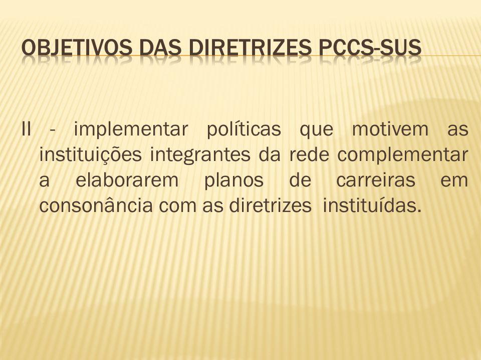 II - implementar políticas que motivem as instituições integrantes da rede complementar a elaborarem planos de carreiras em consonância com as diretrizes instituídas.