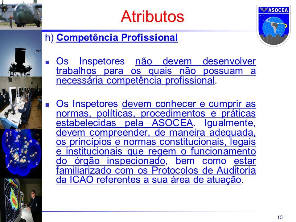 15 h) Competência Profissional Os Inspetores não devem desenvolver trabalhos para os quais não possuam a necessária competência profissional.
