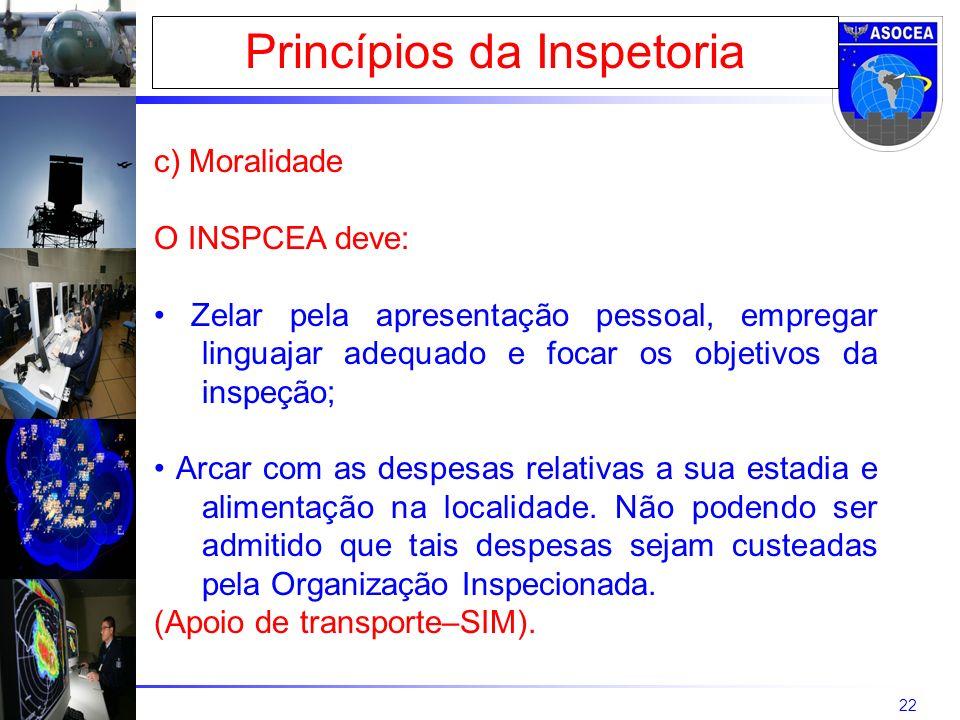 22 Princípios da Inspetoria c) Moralidade O INSPCEA deve: Zelar pela apresentação pessoal, empregar linguajar adequado e focar os objetivos da inspeção; Arcar com as despesas relativas a sua estadia e alimentação na localidade.