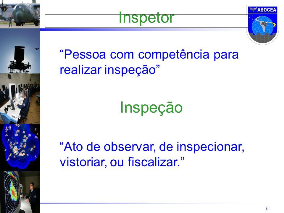 5 Inspetor Pessoa com competência para realizar inspeção Ato de observar, de inspecionar, vistoriar, ou fiscalizar.