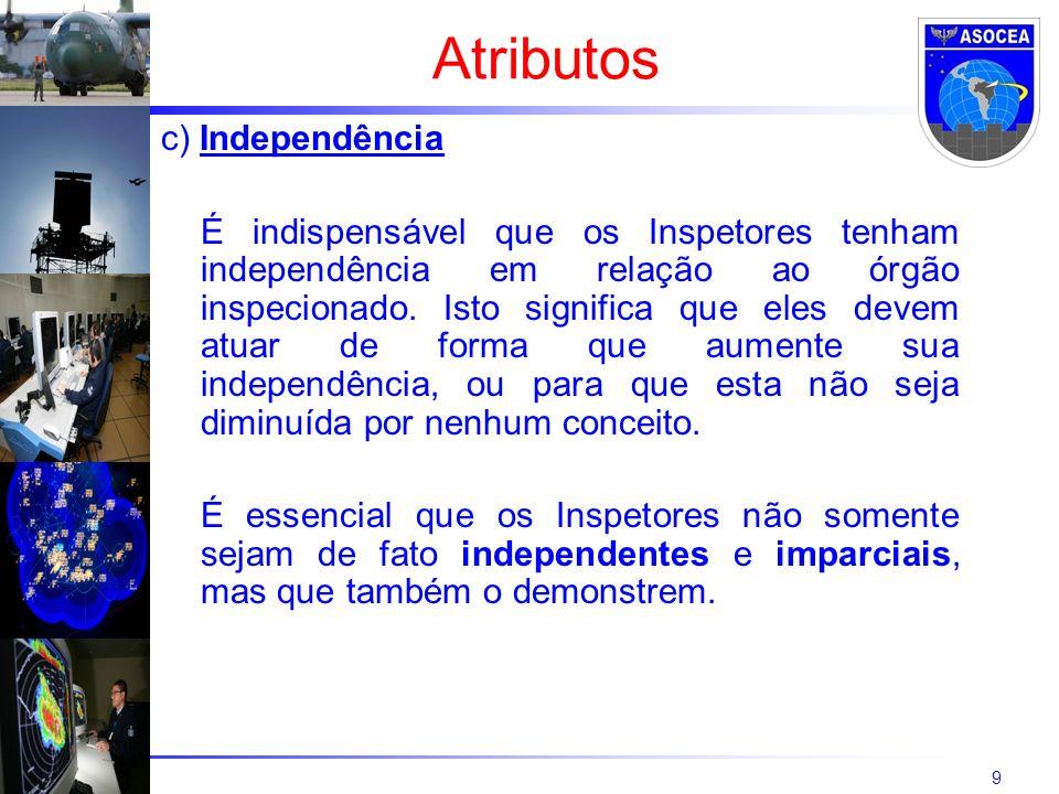 9 c) Independência É indispensável que os Inspetores tenham independência em relação ao órgão inspecionado.