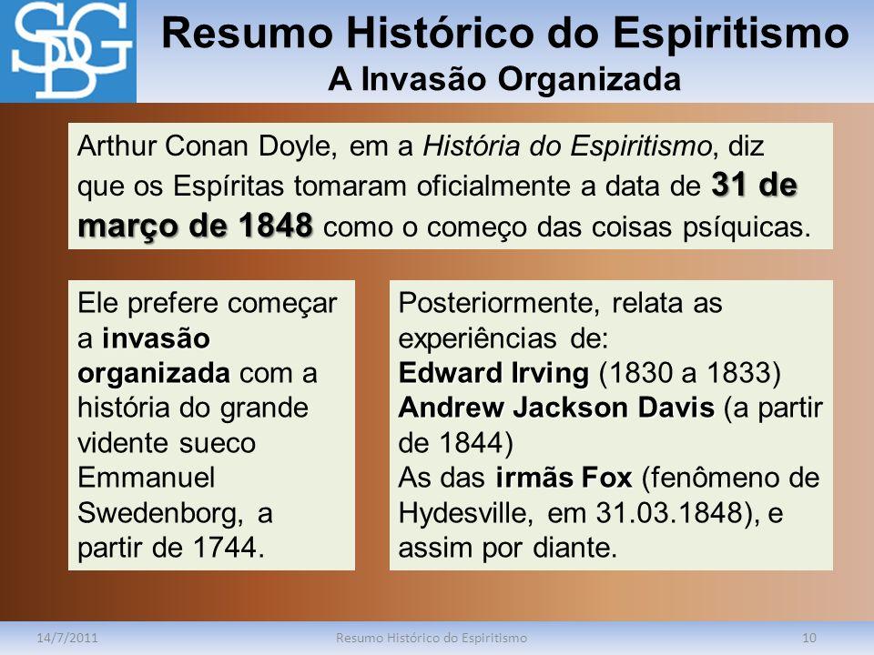 Resumo Histórico do Espiritismo A Invasão Organizada 14/7/2011Resumo Histórico do Espiritismo10 31 de março de 1848 Arthur Conan Doyle, em a História