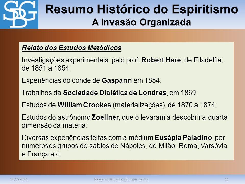 Resumo Histórico do Espiritismo A Invasão Organizada 14/7/2011Resumo Histórico do Espiritismo11 Relato dos Estudos Metódicos Robert Hare Investigações