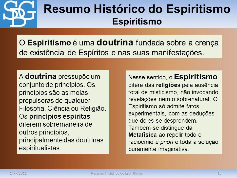 Resumo Histórico do Espiritismo Espiritismo 14/7/2011Resumo Histórico do Espiritismo15 Espiritismo doutrina O Espiritismo é uma doutrina fundada sobre