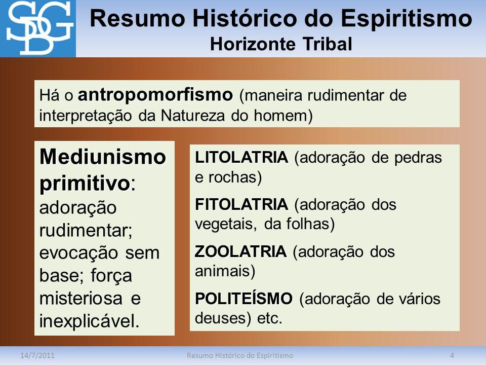 Resumo Histórico do Espiritismo Horizonte Tribal 14/7/2011Resumo Histórico do Espiritismo4 antropomorfismo Há o antropomorfismo (maneira rudimentar de